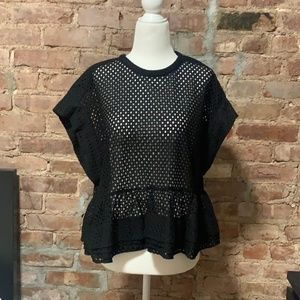 IRO Perforated Black Blouse Size 36